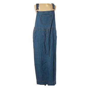Crazy Horse Boho Denim Overall Maxi Dress XL